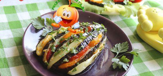 Диетические баклажаны веером с помидорами и сыром в духовке
